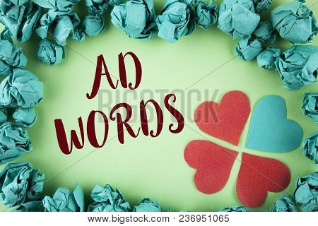 Handwriting Text Ad Words. Concept Meaning Advertising A Business Over First Of Internet Search Resu