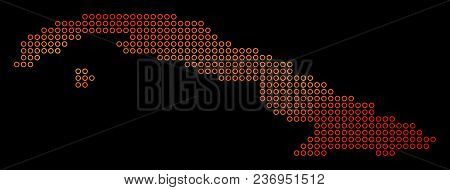 Dot Orange Cuba Map. Vector Territorial Map In Fire Color Shades On A Black Background. Vector Mosai