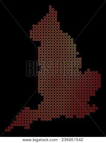 Dotted Fire England Map. Vector Geographic Map In Fire Color Tones On A Black Background. Vector Mos