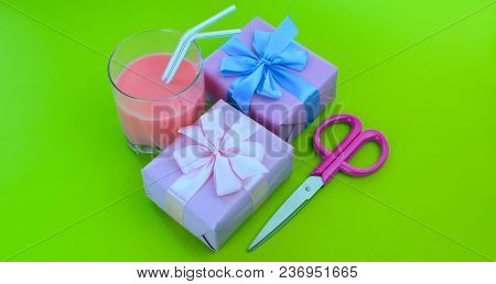 Banner Surrealism Holiday Poster Boxes With Gifts A Glass Of Milkshake A Bright Green Background. Fe