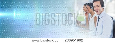 Customer service assistants with headsets with technology interface bright background