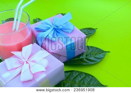 Surrealism Holiday Poster Boxes With Gifts A Glass Of Milkshake A Bright Green Background. Festive S