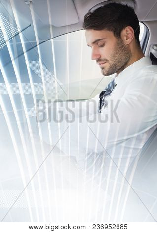 Man in car with transition effect