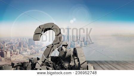Broken concrete stone with Question symbol in cityscape