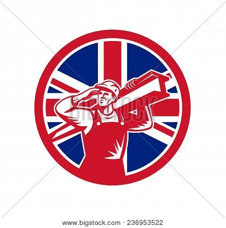 Icon retro style illustration of a British construction worker carrying an I-beam on shoulder while saluting  with United Kingdom UK, Great Britain Union Jack flag set in circle isolated background. poster