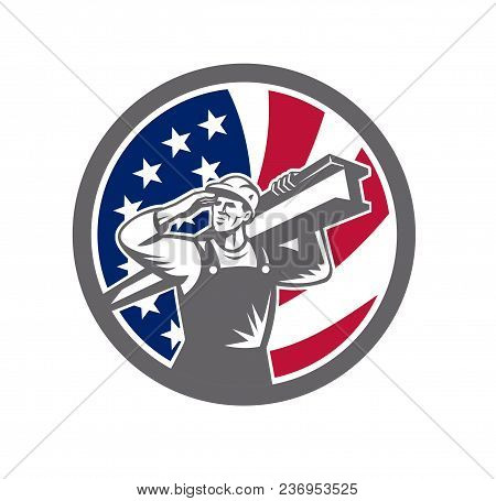 Icon Retro Style Illustration Of An American Construction Worker Carrying An I-beam On Shoulder And