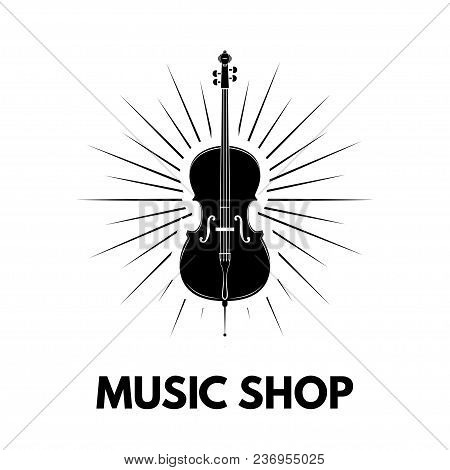 Violin Icon. Beams. Music Shop Logo Design. Music Store Label Emblem. Musical Instrument. Vector Ill