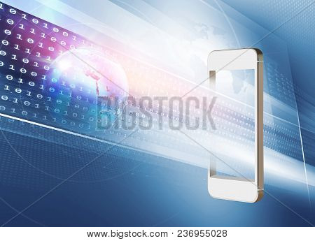 New Technologies Or New Applications On Smartphones. Digital World Going Into Mobile Phones. 3d Illu