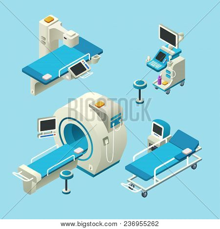 Vector Isometric Medical Diagnostic Equipment Set. 3d Illustration Computer Tomography Ct, Magnetic