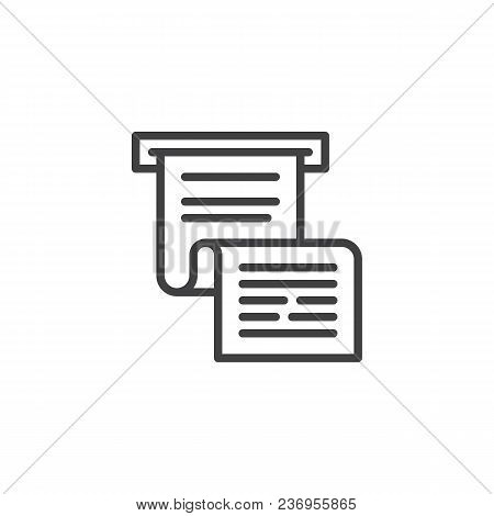 Invoice Or Paycheck Outline Icon. Linear Style Sign For Mobile Concept And Web Design. Bank Cheque S