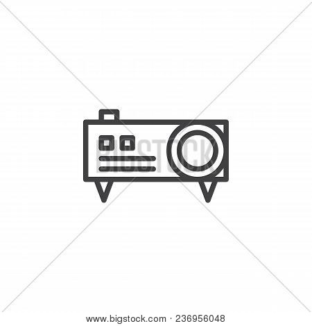 Video Projector Outline Icon. Linear Style Sign For Mobile Concept And Web Design. Digital Projector