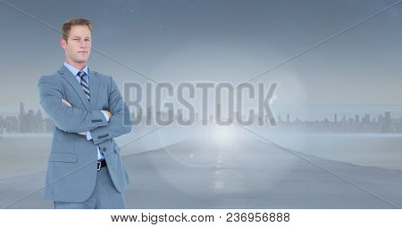 businessman in cityscape