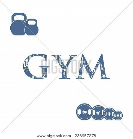 Powerlifting Gym Workout Elements. Bodybuilding Exercises Equipment.
