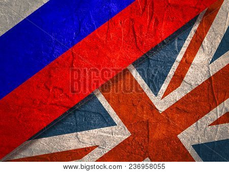 Image Relative To Politic Relationships Between Russia And Great Britain. Russian And Britain Grunge