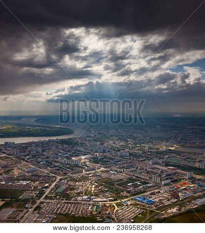 Aerial View Of The City Of Nizhnevartovsk, Tyumen Region, Russia. This Is The Center Of The Oil Indu