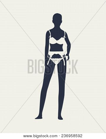 Beautiful Sexy Fitness Girl. Pretty Woman Wearing Lingerie. Front View.