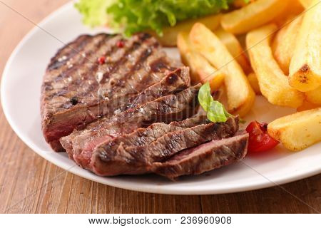 beef barbecue and french fries