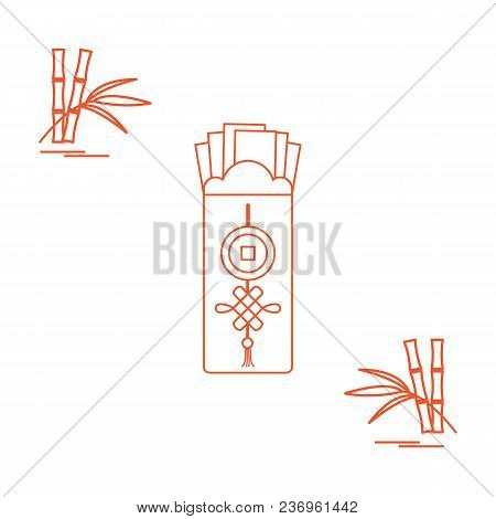 Chinese Red Envelopes Of Money And Bamboo. Design For Banner, Poster Or Print.