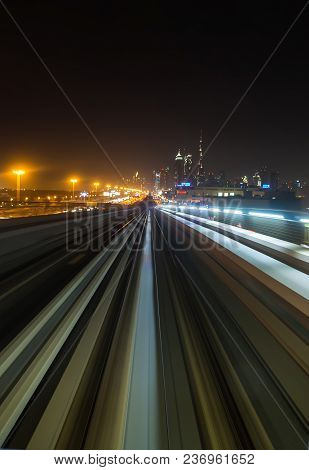 Front Cabin View From Modern Driver-less Metro Train Rush Forward, Along Night Smooth Timelapse. Ove