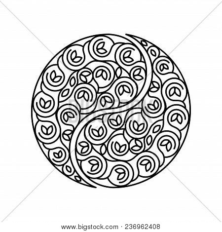 Black And White Symbol Harmony And Balance. Abstract Sign Yin Yang Isolated On White Background. Lin