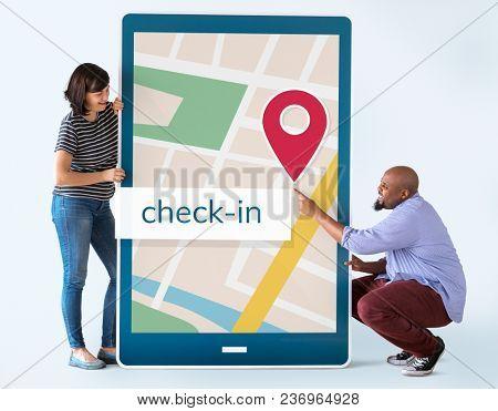 GPS navigation map on digital device