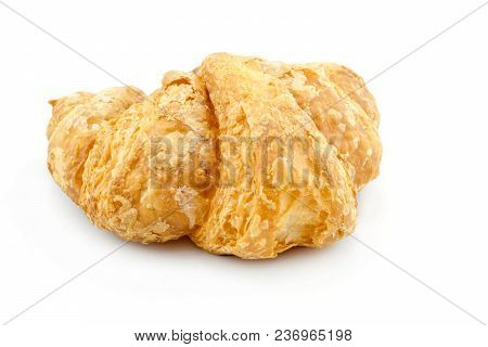 Fresh Croissant Or French Bread On White Background