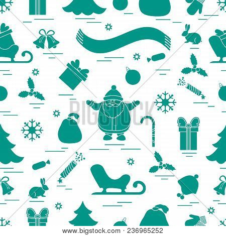 Winter Seamless Pattern With Variety Christmas Elements:  Tree, Balls, Petard, Scarf, Santa Claus, B