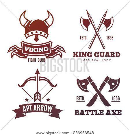 Colorful Vintage Warrior Emblems. Viking, Knight, King Medieval Labels. Vector Illustration