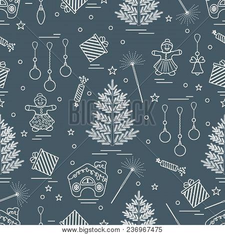 Winter Seamless Pattern With Variety Christmas Elements:  Tree, Balls, Petard, Sparkler, Gingerbread
