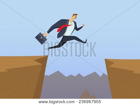 Businessman In Office Suit Jumping Over The Abyss As He Runs To His Goals. Overcoming The Obstacles.