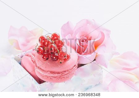 Macaroni, Red Currants, Marshmallows Against The Background Of Beautiful Flowers Of Roses. Dessert C