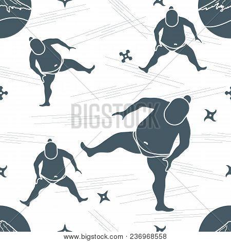 Vector Pattern Of Sumo Wrestler, Shurikens And Mountain Fuji. Japan Theme.