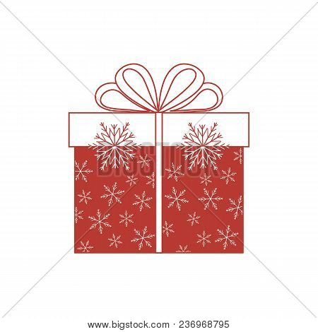 Vector Illustration Of Gift Box Decorated Snowflakes On White Background.design Element For Postcard