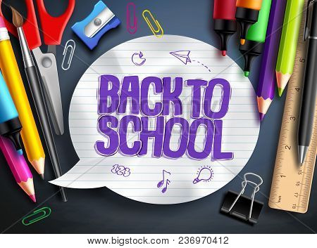 Back To School Vector Banner Design With School Elements, Colorful Education Objects And White Textu