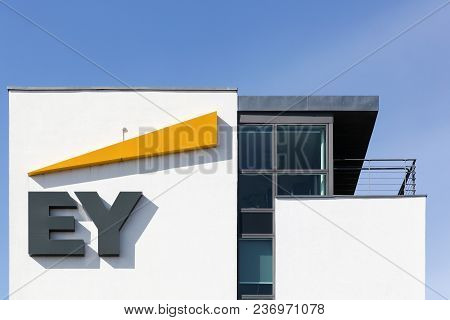 Horsens, Denmark - April 2, 2018: Ernst & Young Offices Building. Ernst & Young Also Called Ey Is On
