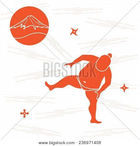 Vector Illustration Of Sumo Wrestler, Shurikens And Mountain Fuji. Japan Theme.