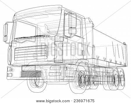 European Truck Outlined Vector Rendering Of 3d. The Layers Of Visible And Invisible Lines Are Separa