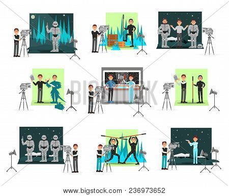 Movie Making Set, Operators And Cinematograph People, Vector Illustrations Isolated On A White Backg