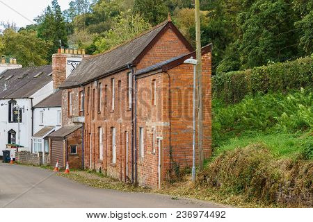 Talybont On Usk, Powys, Wales, Uk - October 05, 2017: A Narrow House On The Main Road (b4558)