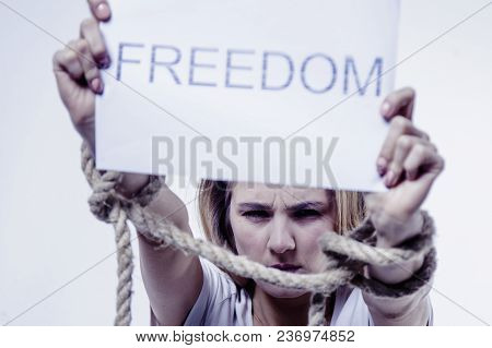 Bound Woman's Hands As Symbol Of Desire For Freedom (struggle, Tension, Independence, Pain Concept)