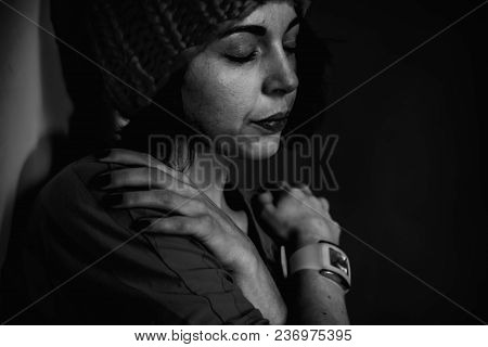 Folded Hands Of The Girl As A Symbol Of Loneliness. (body Language, Gestures, Body Psychology Concep