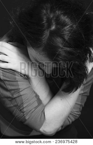 Folded Hands Of The Woman As A Symbol Of Loneliness And Pain. (body Language, Gestures, Body Psychol