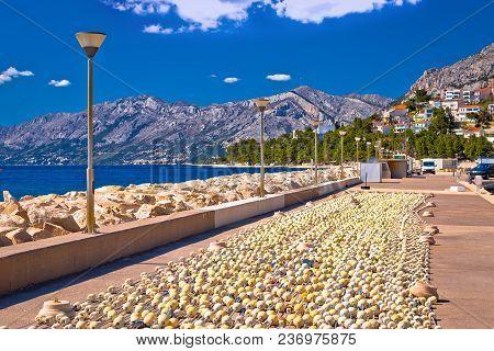 Baska Voda Breakwater And Fishing Nets View, Makarska Riviera In Dalmatia, Croatia