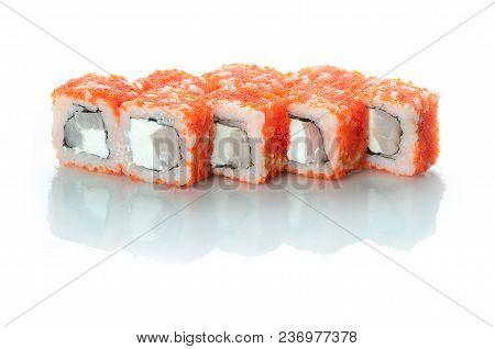 White Background Isolated With Reflection, Sushi Rolls Japanese Cuisine Beautiful
