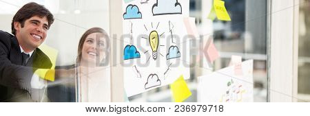 Business people smiling with window and sticky notes transition