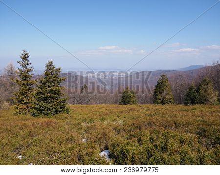 Scenic Panorama Of Beskid Mountains Range Landscapes Seen From Blatnia Mount Near City Of Bielsko-bi