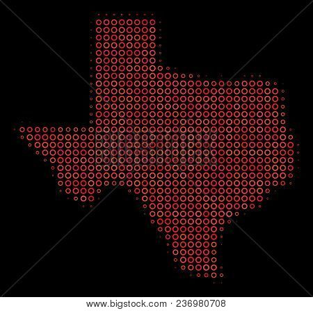 Dotted Red Halftone Texas Map. Vector Geographical Map In Red Color Tones On A Black Background. Vec