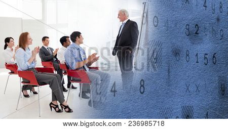 Business conference with blue texture transition