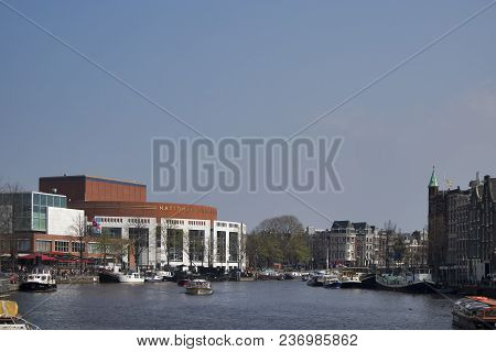 Amsterdam, Holland - 14 April 2018 Outdoor View Of Dutch National Opera Ballet. The Stopera Is Build
