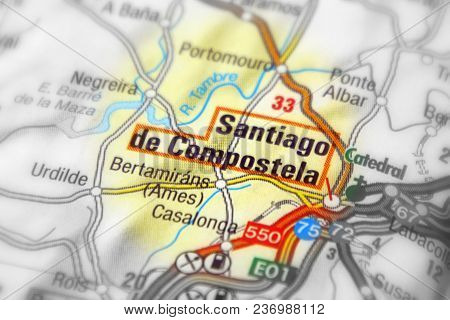 Santiago De Compostela, Spain (black And White Selective Focus).